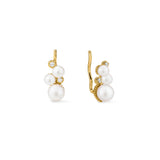 Shima Ear Climbers with Freshwater Pearls and Diamonds in 18K