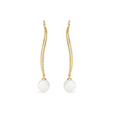 Shima Long Drop Earrings with Freshwater Pearls and Diamonds in 18K