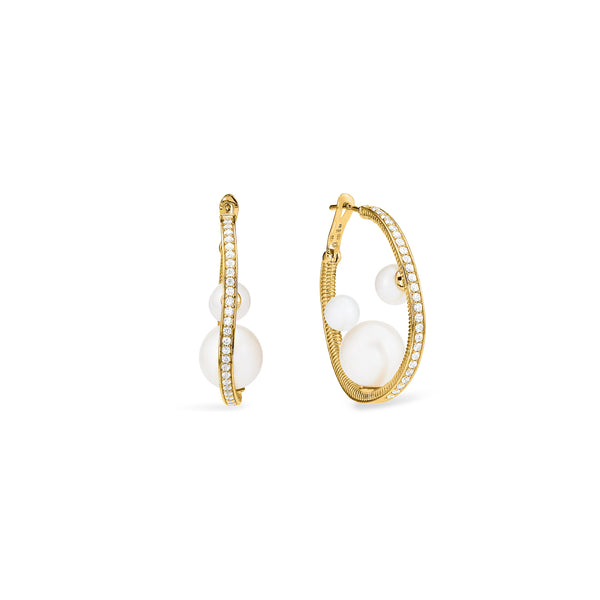 Shima Hoop Earrings with Freshwater Pearls and Diamonds in 18K