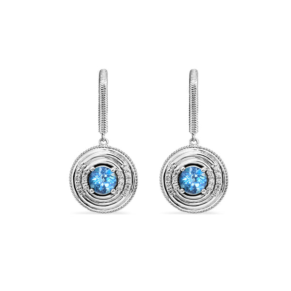 Max Drop Earrings with Swiss Blue Topaz and Diamonds
