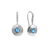 Max Drop Earring with Swiss Blue Topaz and Diamonds