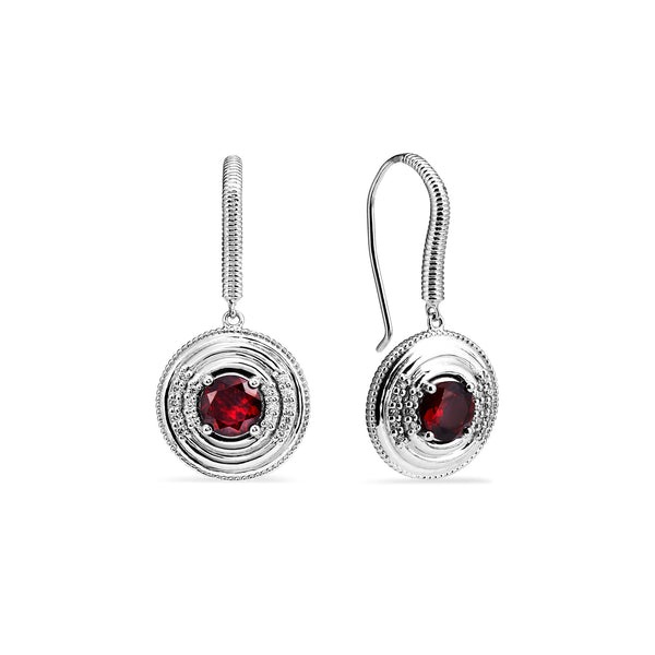 Max Drop Earrings with Garnet and Diamonds