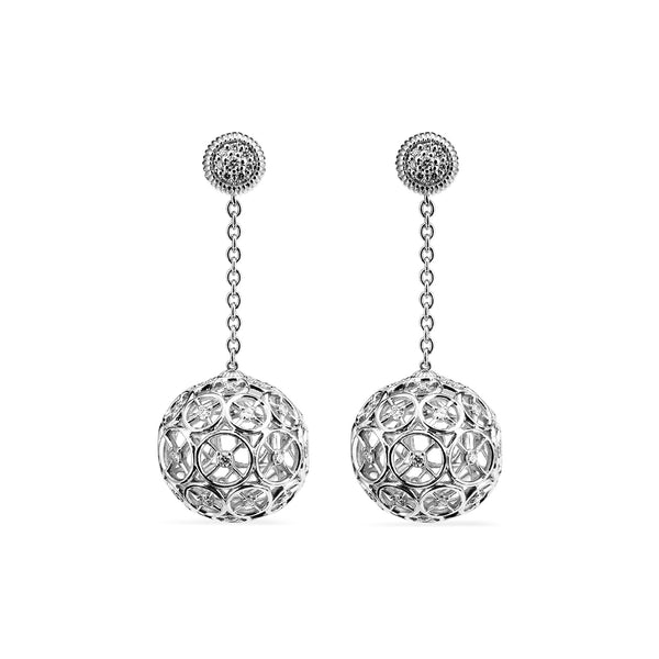Max Ball Drop Earrings with Diamonds