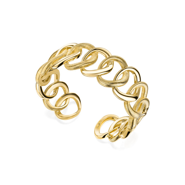 Eternity Interlocking Link Cuff Bracelet in 18K