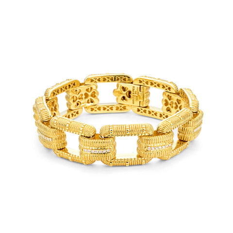 *SPECIAL ORDER* JUDITH RIPKA 18K LTD Classic Rectangular Link Bracelet with Diamonds