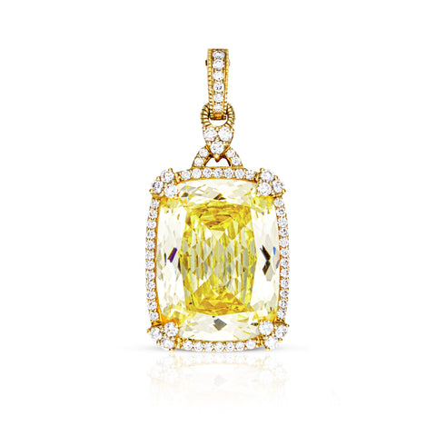 *SPECIAL ORDER* JUDITH RIPKA 18K LTD Monaco Canary Crystal Cushion Clip-On with Diamonds