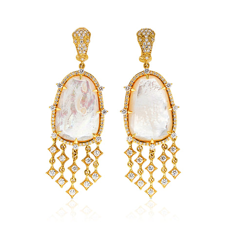 *SPECIAL ORDER* JUDITH RIPKA LTD Celestial Mother Of Pearl Earrings with Diamonds