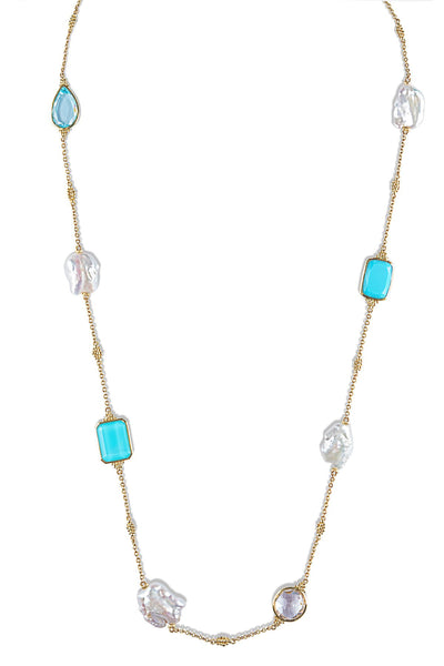 *SPECIAL ORDER* JUDITH RIPKA 18K LTD Bermuda Multi Stone Long Necklace With Pearl & Blue Gemstones