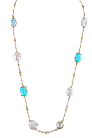 JUDITH RIPKA LTD Bermuda Multi Stone Long Necklace With Pearl & Blue Gemstones