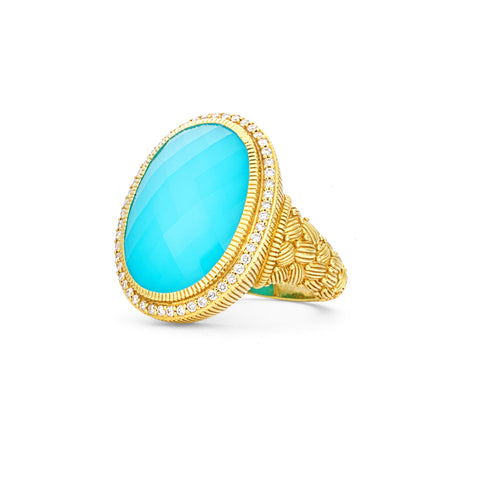 *SPECIAL ORDER* JUDITH RIPKA 18K LTD Aurora Turquoise Doublet Ring with Diamonds