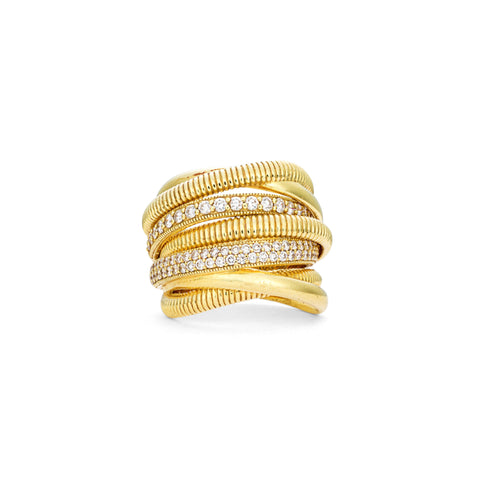 Eternity Wide Band Ring With Two Rows Of Pavé Diamonds