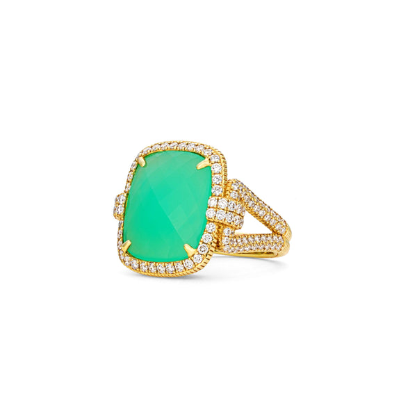 JUDITH RIPKA LTD Town & Country Chrysoprase Ring with Diamonds