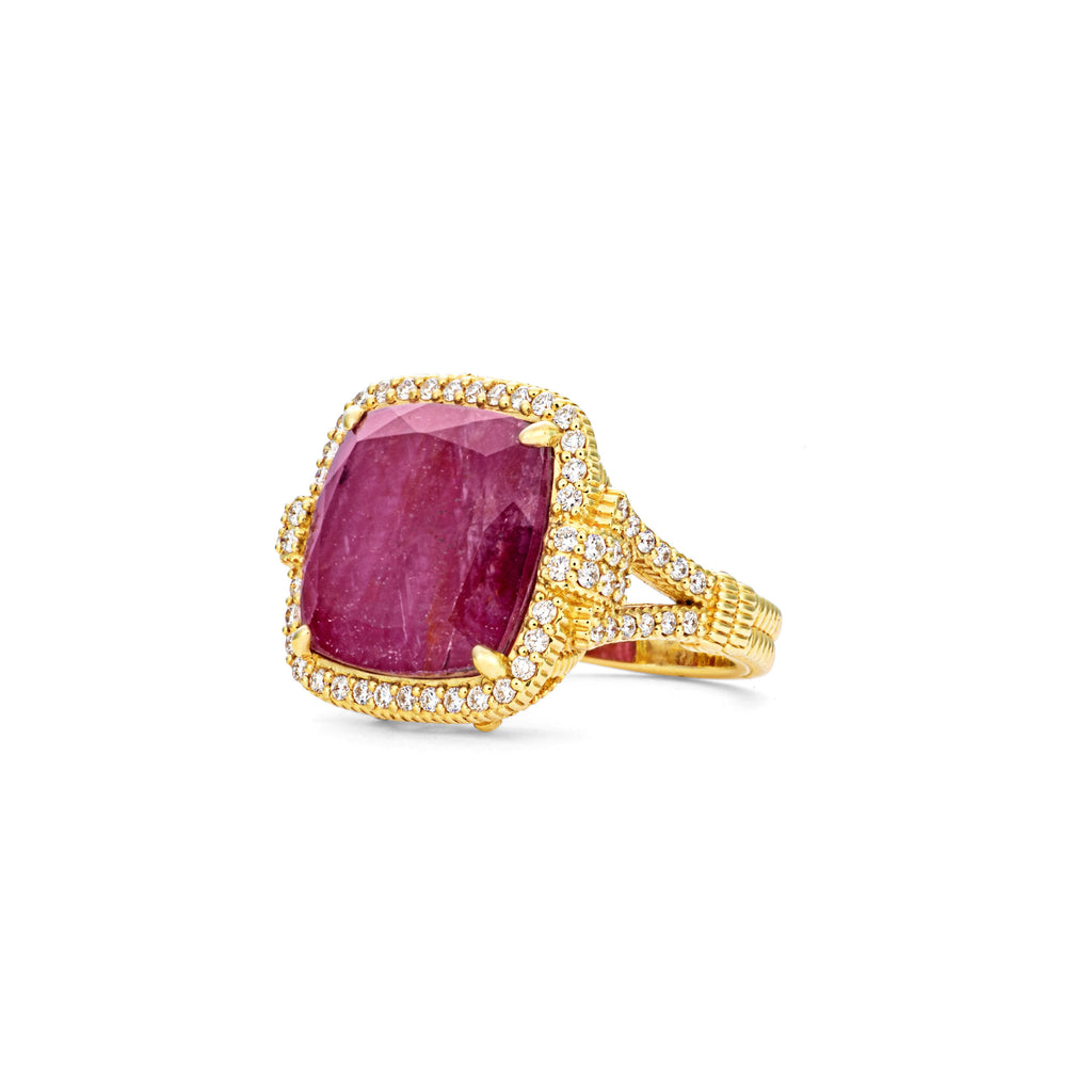 18K Arianna Rock Crystal Quartz & African Ruby Doublet Ring with Diamonds