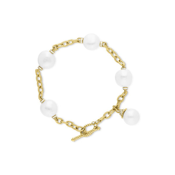 Paloma Bracelet with Baroque Freshwater Pearls and Diamonds in 18K