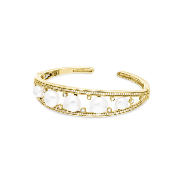 Paloma Cuff with Baroque Freshwater Pearls and Diamonds in 18K