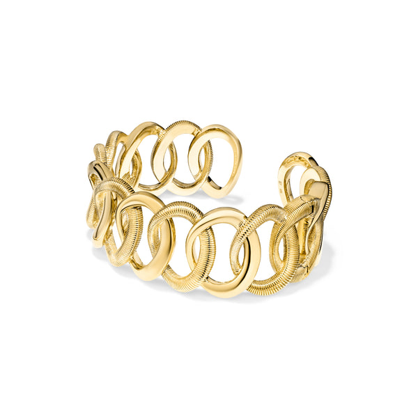 18K Eternity Interlocking Link Cuff Bracelet