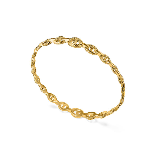 Vienna Graduated Link Stack Bangle in 18K