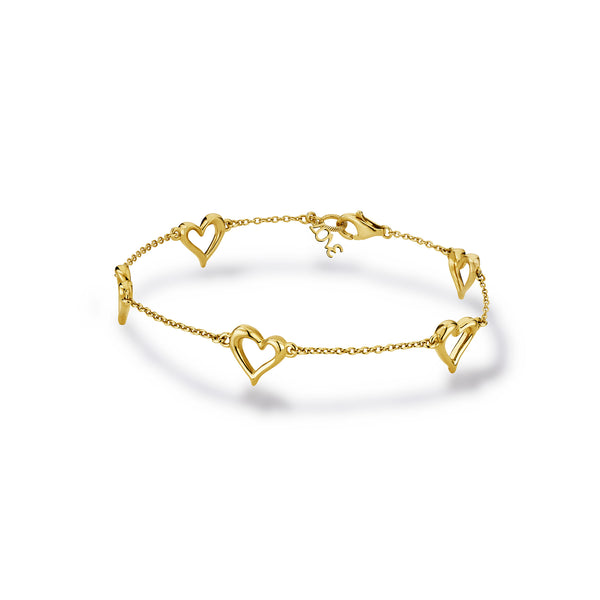 Eros Open Heart Station Bracelet in 18K
