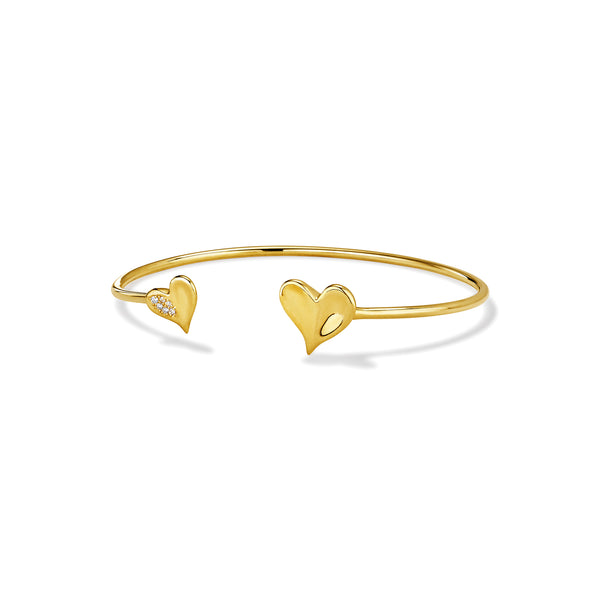 Eros Heart Flexible Bangle with Diamonds in 18K