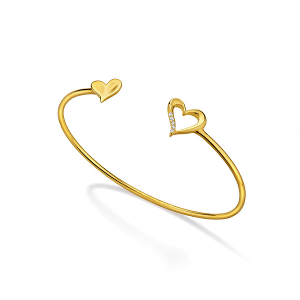 Eros Open Heart Flexible Bangle with Diamonds in 18K