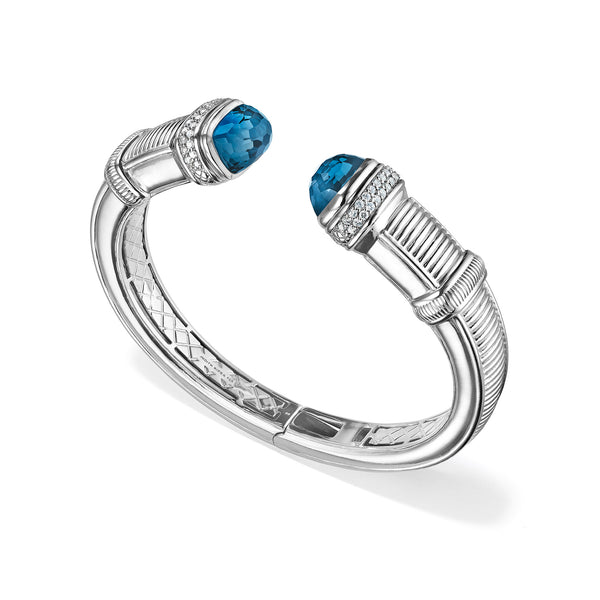 Cassandre Large Bracelet with London Blue Topaz and Diamonds
