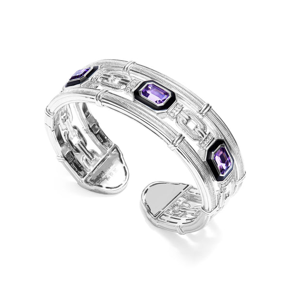 Adrienne Cuff with Enamel, Amethyst and Diamonds