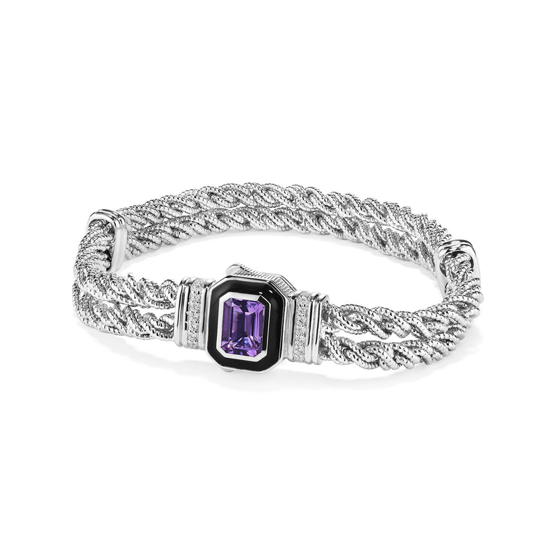 Adrienne Double Rope Bracelet with Enamel, Amethyst and Diamonds