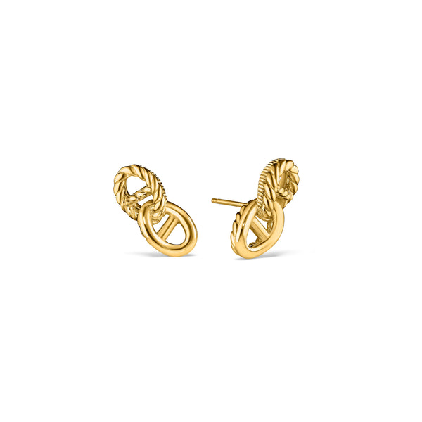 Vienna Double Link Stud Earrings in 18K