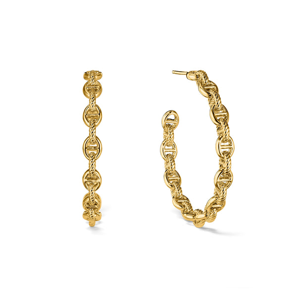 Vienna Chain Link Hoop Earrings in 18K