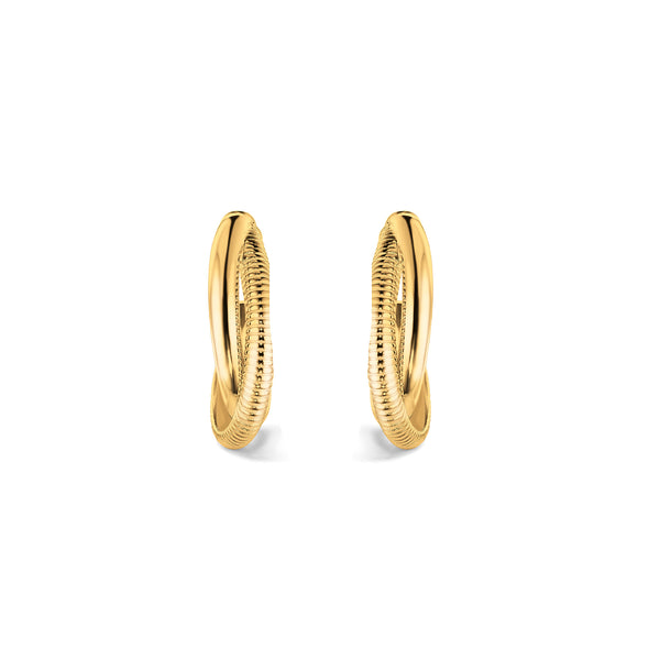 Eternity Small Round Hoop Earrings in 18K