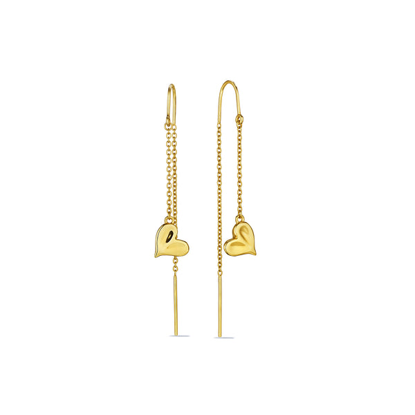 Eros Heart Threader Earrings in 18K
