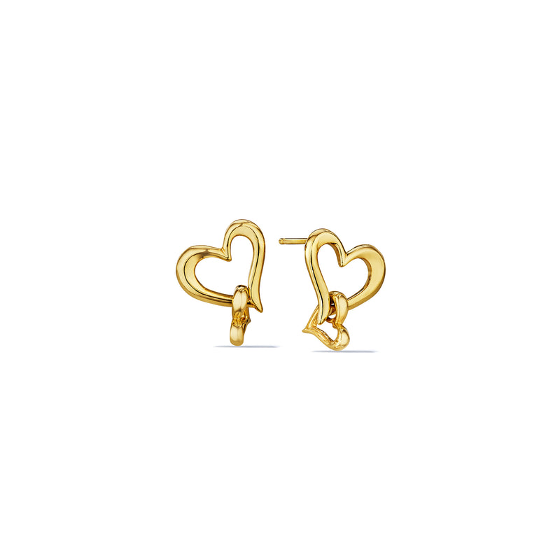 Eros Interlocking Open Heart Earrings in 18K