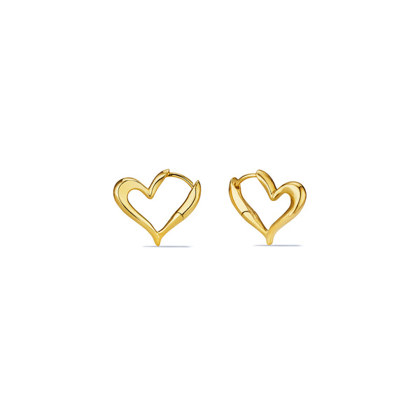 Eros Open Heart Hoop Earrings in 18K