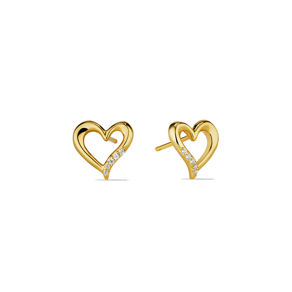 Eros Open Heart Stud Earrings with Diamonds in 18K