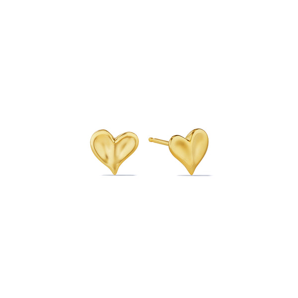 Eros Heart Stud Earrings in 18K