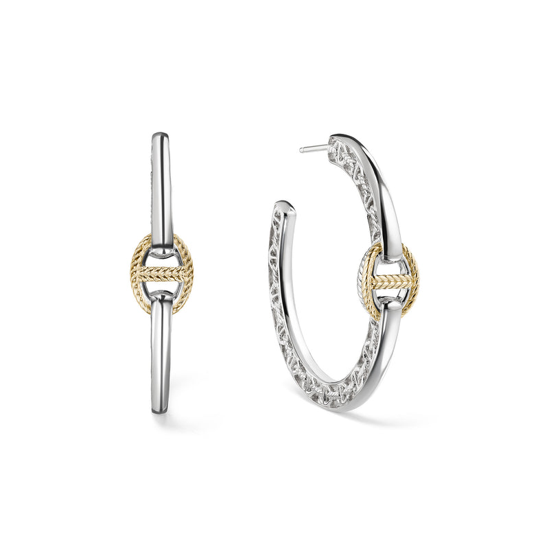 Vienna Single Link Hoop Earrings with 18K Gold