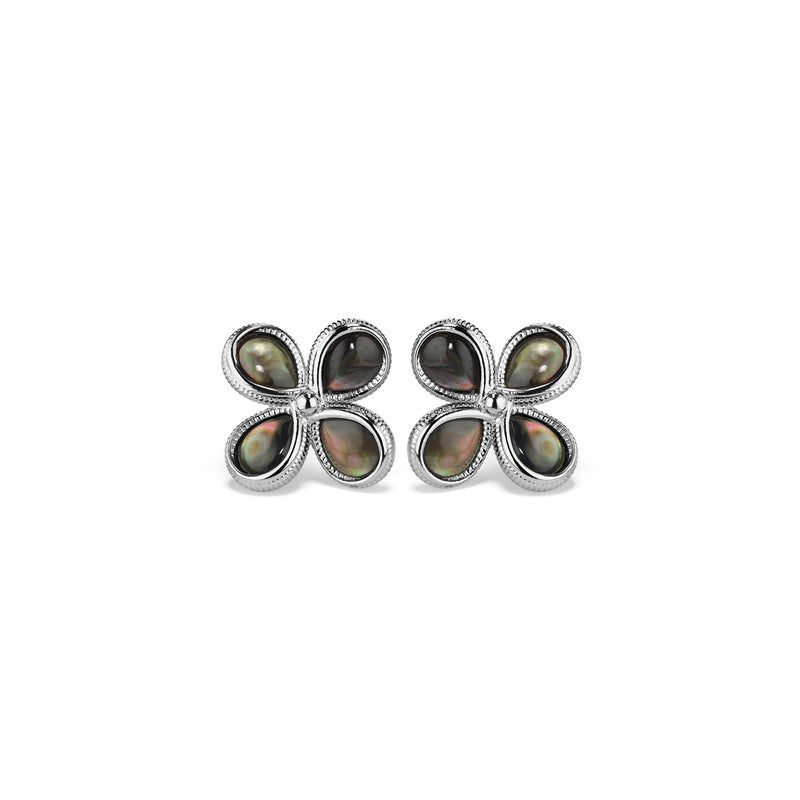 Jardin Stud Earrings with Black Mother of Pearl