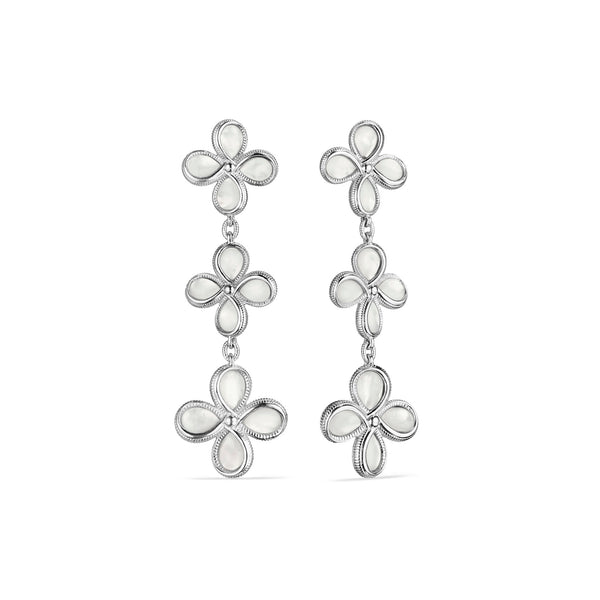 Jardin Triple Drop Earrings with Mother of Pearl