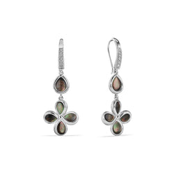 Jardin Petal Drop Earrings with Black Mother of Pearl and Diamonds