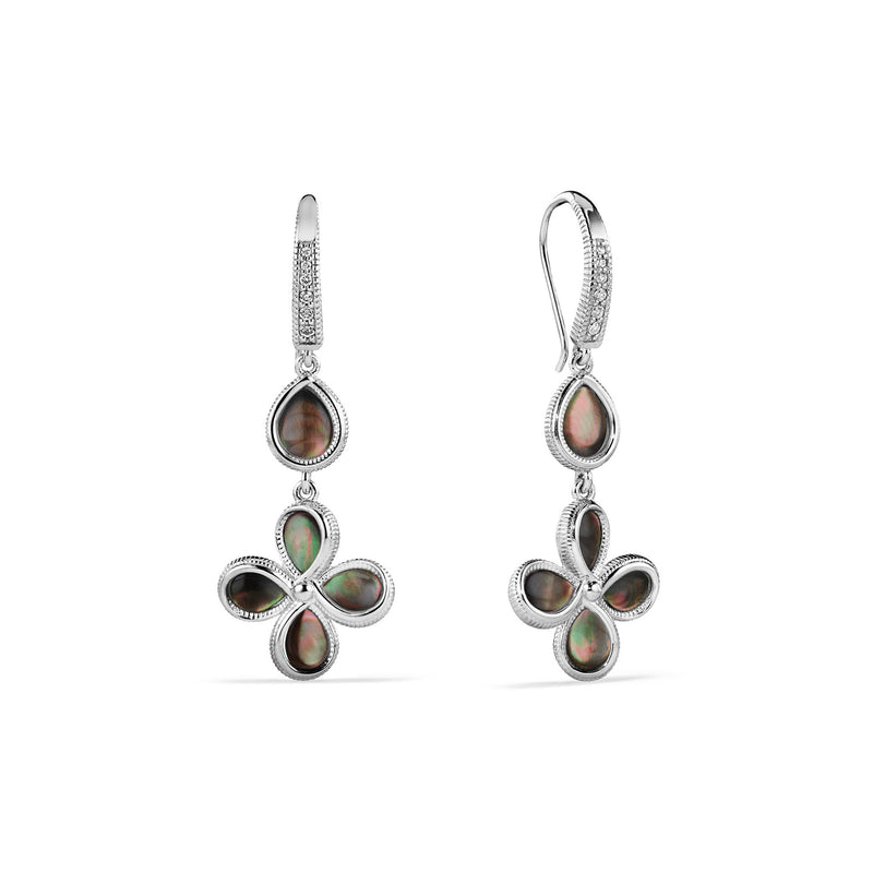 Jardin Petal Drop Earrings with Black Mother of Pearl and Cultured Diamonds