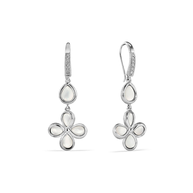 Jardin Petal Drop Earrings with Mother of Pearl and Cultured Diamonds