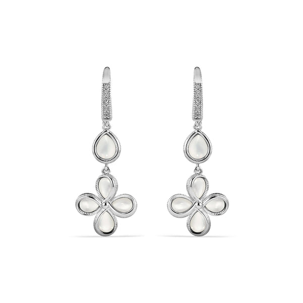 Jardin Petal Drop Earrings with Mother of Pearl and Diamonds