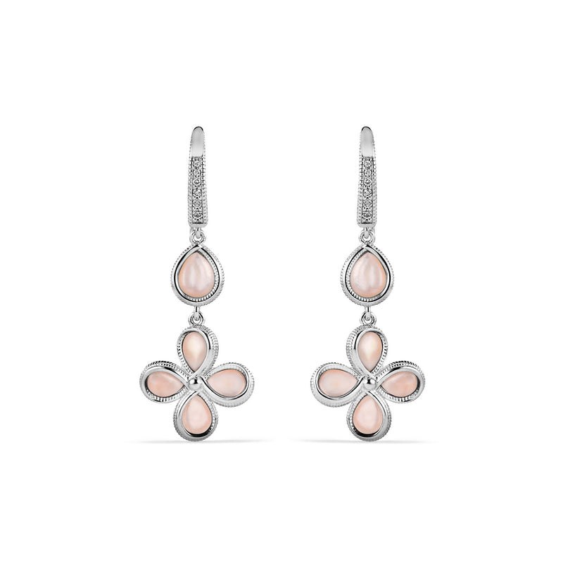 Jardin Petal Drop Earrings with Pink Mother of Pearl and Cultured Diamonds