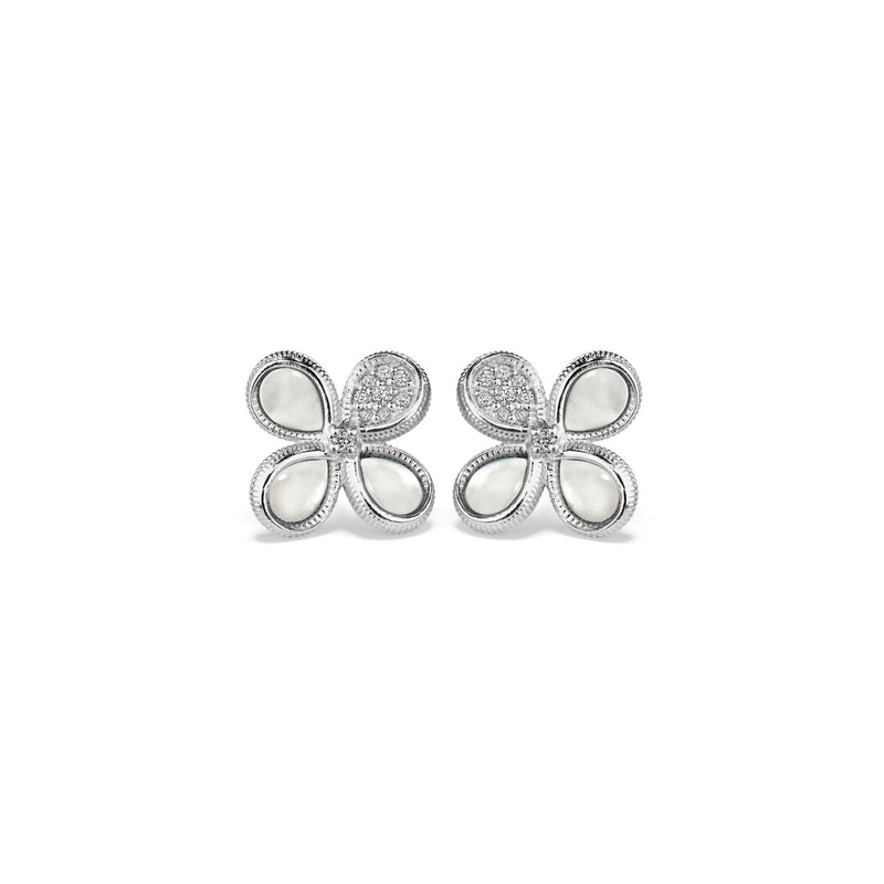 Jardin Stud Earrings with Mother of Pearl and Cultured Diamonds
