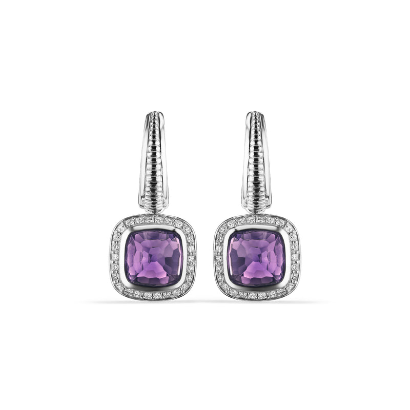 Cassandre Drop Earrings with Amethyst and Cultured Diamonds