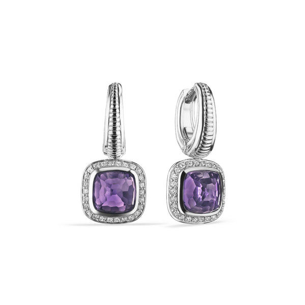 Cassandre Drop Earrings with Amethyst and Diamonds