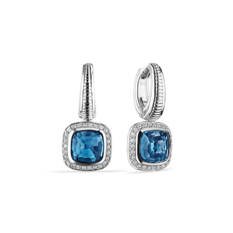 Cassandre Drop Earrings with London Blue Topaz and Cultured Diamonds