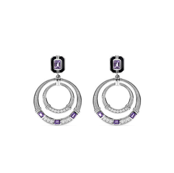 Adrienne Door Knocker Earrings with Enamel, Amethyst and Diamonds