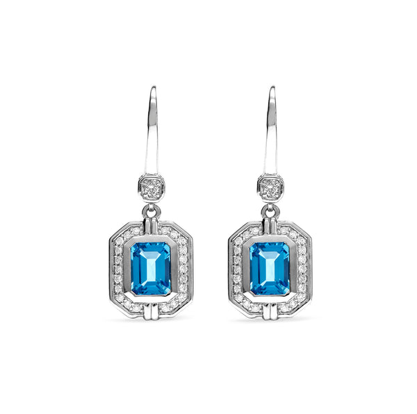 Adrienne Drop Earrings with Swiss Blue Topaz and Diamonds
