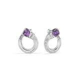 Cassandre Forward Facing Hoop Earrings with Amethyst
